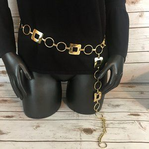 Geometric Gold Chain Belt - Vintage - Size OS